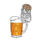 A funny owl in a cap sits on a mug of beer. Vector illustration for a postcard or a poster. Royalty Free Stock Photography