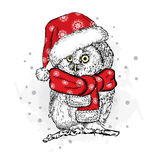 Funny owl in Christmas hat. Vector illustration. Christmas and New Year Royalty Free Stock Image