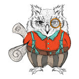 Funny owl clothing with newspaper, reading, news, e-mail. Drawing by hand. Vector illustration Royalty Free Stock Images