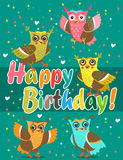 Funny Owl. Cute Owl Set. Vector Owls. Flying Birds. Night Birds. Congratulation Vector Pattern. Royalty Free Stock Images