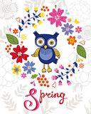 Funny owl in floral wreath Royalty Free Stock Photo
