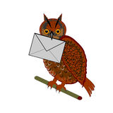 A funny owl with a letter in his beak Royalty Free Stock Photography