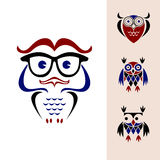 Funny owl logo. Funny owls with big eyes Stock Image