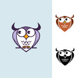 Funny owl logo. Funny owls with big eyes Royalty Free Stock Photo