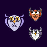 Funny owl logo. Funny owls with big eyes Royalty Free Stock Images