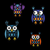 Funny owl logo. Funny owls with big eyes Stock Photography