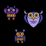 Funny owl logo. Funny owls with big eyes Royalty Free Stock Image