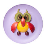Funny owl made of fruits Royalty Free Stock Photography