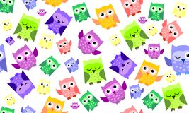 Funny owl. Pretty pattern with funny owl on white background Stock Images