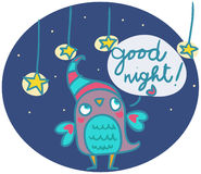 Funny owl says goog night Royalty Free Stock Image