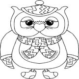 Funny owl in a scarf. Animals and birds cartoon characters isolated on white Royalty Free Stock Photo