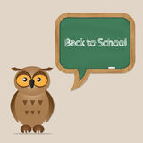 Funny owl with school board Stock Images