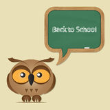 Funny owl with school board Royalty Free Stock Photos