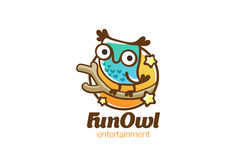Funny Owl sitting Logo design vector linear. Bird Fun icon Royalty Free Stock Photography