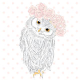 Funny owl wearing a wreath of roses and jasmine. Hipster. Bird clothing. Stock Photo