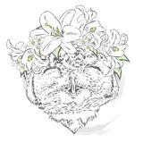 Funny owl wearing a wreath of roses and jasmine. Hipster. Bird clothing. Royalty Free Stock Image