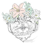 Funny owl wearing a wreath of roses and jasmine. Hipster. Bird clothing. Royalty Free Stock Photography