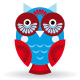 Funny owl on white background.  Stock Image