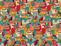 Funny owls birds group color seamless pattern Royalty Free Stock Photography