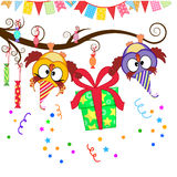 Funny owls give a gift. Greeting card with funny owls gift giving Royalty Free Stock Images