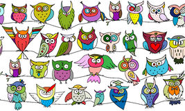 Funny owls, seamless pattern for your design. Vector illustration Royalty Free Stock Photos