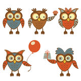 Funny owls set. Cute collection of funny owl characters Royalty Free Stock Images