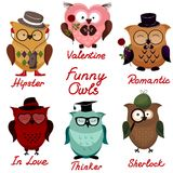 Funny owls. set for your design. Royalty Free Stock Images