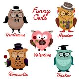 Funny owls. set for your design. Stock Photo