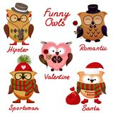 Funny owls. set for your design. Royalty Free Stock Photo