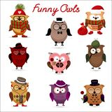 Funny owls. set for your design. Stock Image