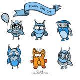Funny owls simple hand drawn cartoon Stock Image