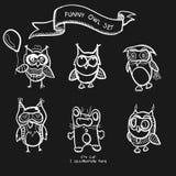 Funny owls simple hand drawn cartoon Stock Photography
