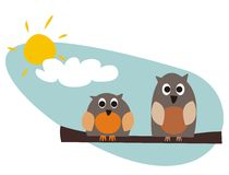 Funny owls sitting on branch on a sunny day. Funny, staring owls sitting on branch on a sunny day vector illustration isolated on white background. Cute, cartoon royalty free illustration