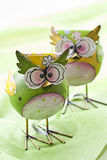 Funny owls. Two funny owls made of iron. colourful.n Royalty Free Stock Photos