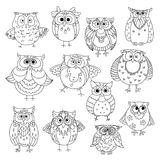 Funny owls and young owlets sketch symbols Royalty Free Stock Photography