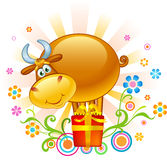 Funny Ox. Cartoon bull on red gift royalty free illustration