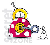 Funny padlock with key. People opening a safety zone Royalty Free Stock Photo