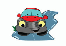 Funny painted car. Smiling car, vector illustration Royalty Free Illustration