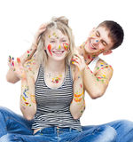 Funny Painted Laughing Couple Royalty Free Stock Image
