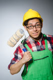 Funny painter with hardhat Stock Photo