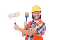 Funny painter isolated on white Royalty Free Stock Photo