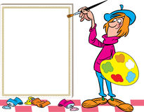 Funny painter near easel Royalty Free Stock Images