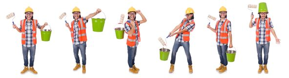 The funny painter with painting accessories isolated on white Stock Photos