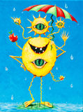 Funny painting of a happy monster in the rain. Funny and colorful original painting of a spiky four-eyed monster with missing teeth eating an apple in the rain Stock Photos