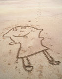 Funny painting in the sand Royalty Free Stock Photos