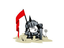 Funny paladin. The funny paladin with a flag and sword Stock Photography