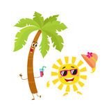 Funny palm tree and sun characters, travelling, summer vacation symbol Stock Photography