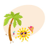 Funny palm tree and sun characters, travelling, summer vacation symbol Stock Image