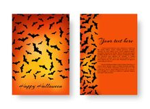 Funny pamphlet with bats for Halloween. Scary cover of brochure with bats for festive decoration for Halloween on the orange backdrop. Vector illustration Stock Images