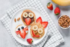 Funny pancakes with animal faces for kids on white plate. Top view royalty free stock photography